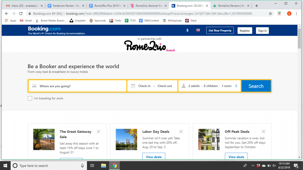 How to use Rome2Rio and Booking.com