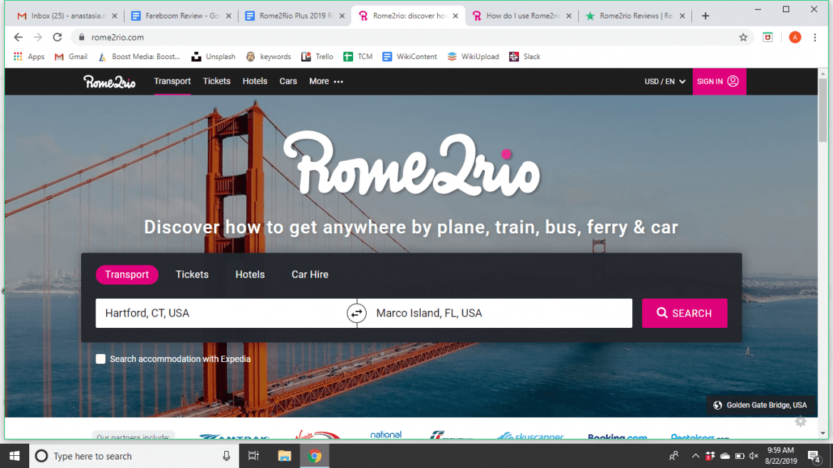 Rome2Rio Transportation Search Review